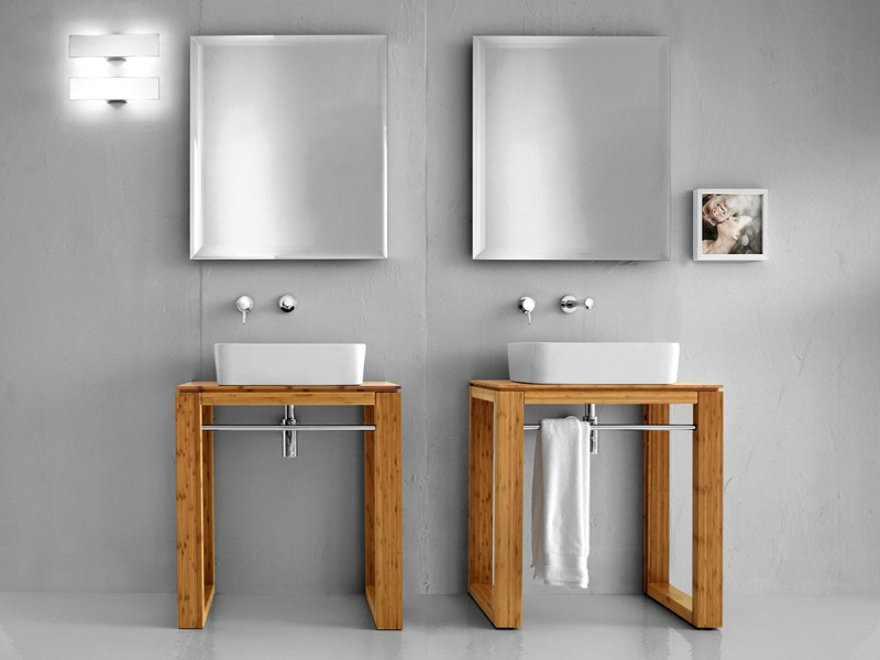 badm bel waschbecken untertisch lineabeta canavera waschtisch 70x46 bambus natur ebay. Black Bedroom Furniture Sets. Home Design Ideas