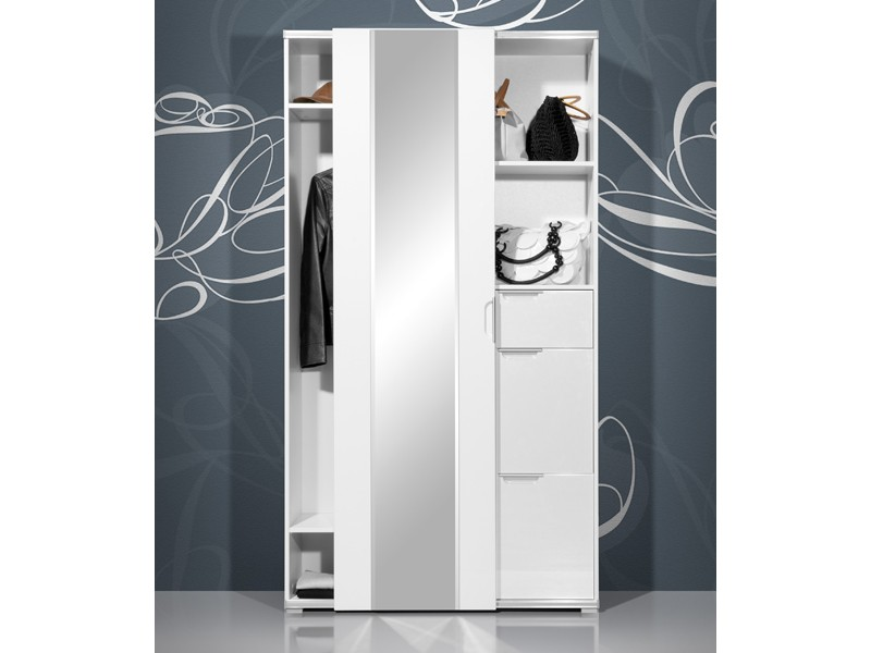 kompaktgarderobe garderobenschrank wei hochglanz facettenspiegel ebay. Black Bedroom Furniture Sets. Home Design Ideas