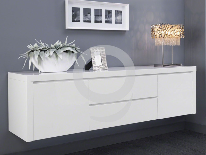 sideboard h ngend hochglanz wei 2 t ren 2 schubladen softclose ebay. Black Bedroom Furniture Sets. Home Design Ideas