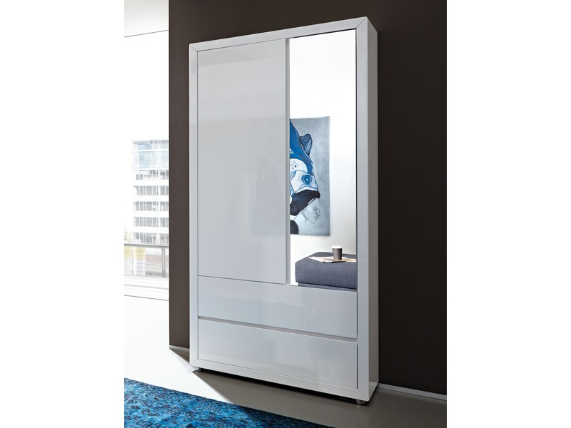 wandschrank wei hochglanz mit gro em spiegel. Black Bedroom Furniture Sets. Home Design Ideas
