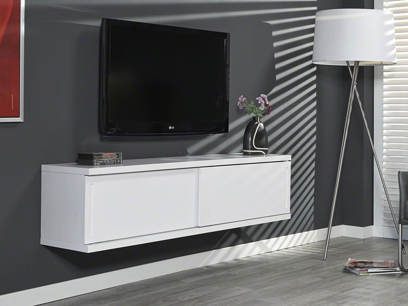 lowboard tv unterschrank h ngender wandschrank wei matt mit schiebet ren ebay. Black Bedroom Furniture Sets. Home Design Ideas