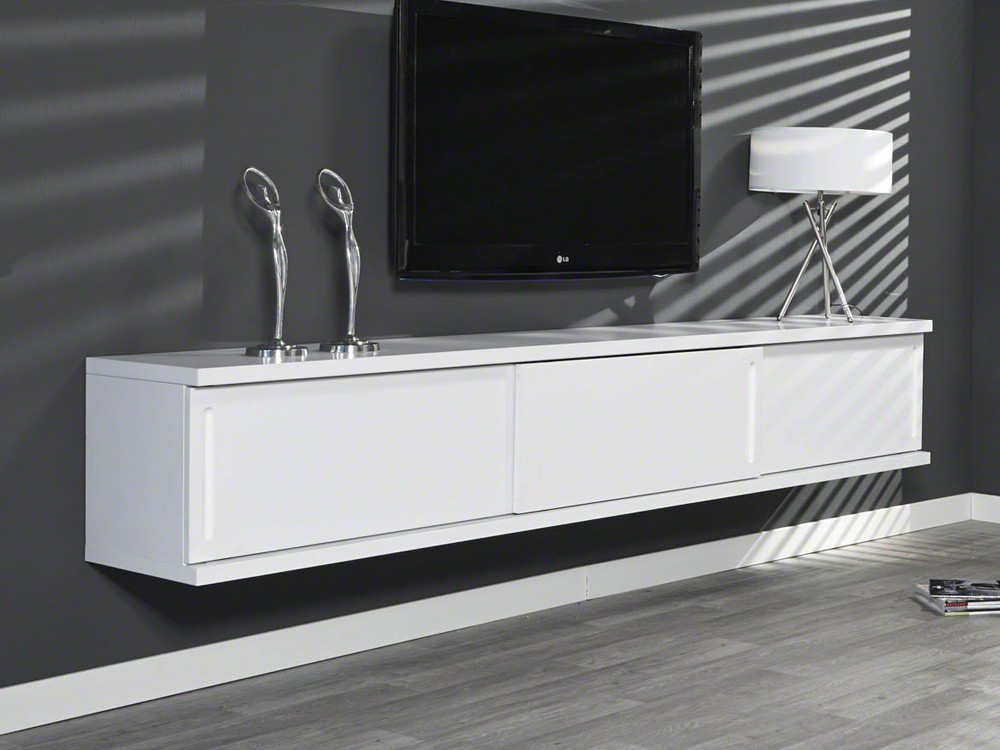 sideboard tv schrank h ngeschrank wandh ngend 240cm wei 3 schiebet ren angebot ebay. Black Bedroom Furniture Sets. Home Design Ideas