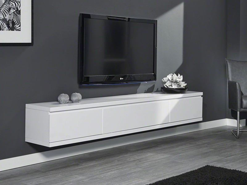 sideboard h ngend tv schrank 200cm fernsehschrank tv m bel wei matt. Black Bedroom Furniture Sets. Home Design Ideas