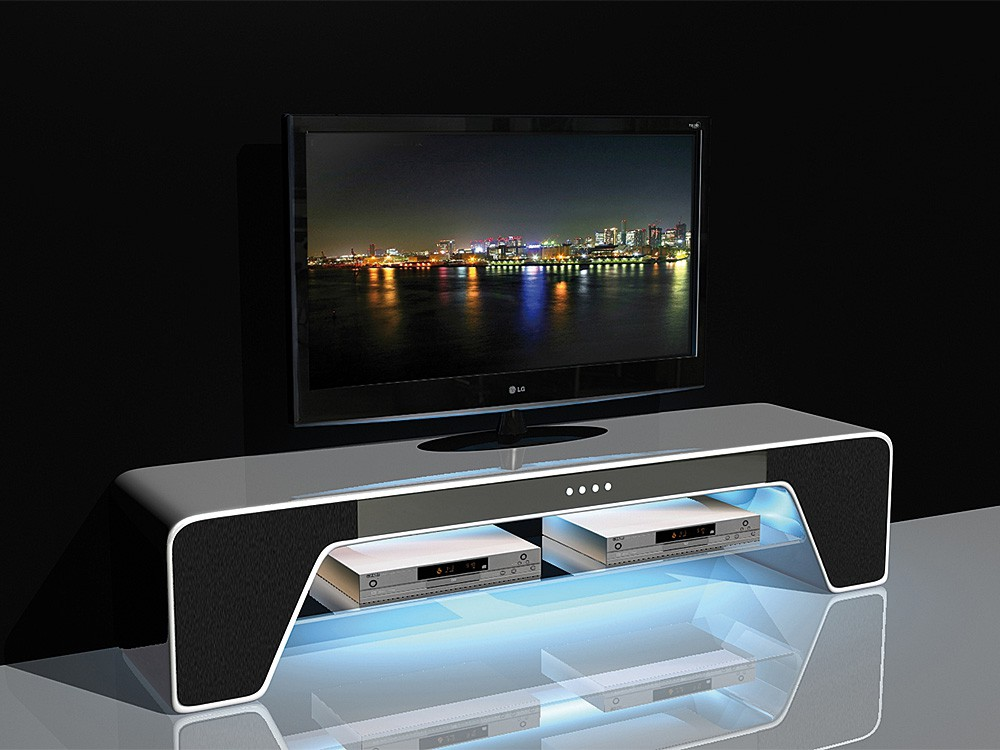 pin tv rack hifi rack regal mit led beleuchtung wei. Black Bedroom Furniture Sets. Home Design Ideas